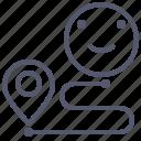 arrow, distance, map, navigation, pin, trip icon
