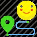 arrow, distance, map, navigation, pin, trip