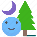 adventure, forest, moon, night, smile, tree icon