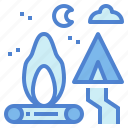 bonfire, campfire, camping, flame, tent icon