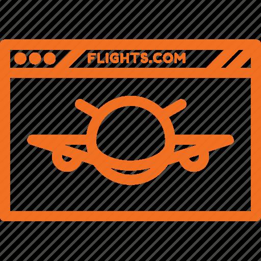 booking, browser, flights, internet, webpage, website icon