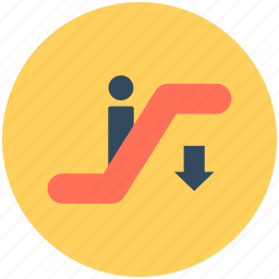 downstairs, escalator, moving stairs, staircase, staircase elevator icon