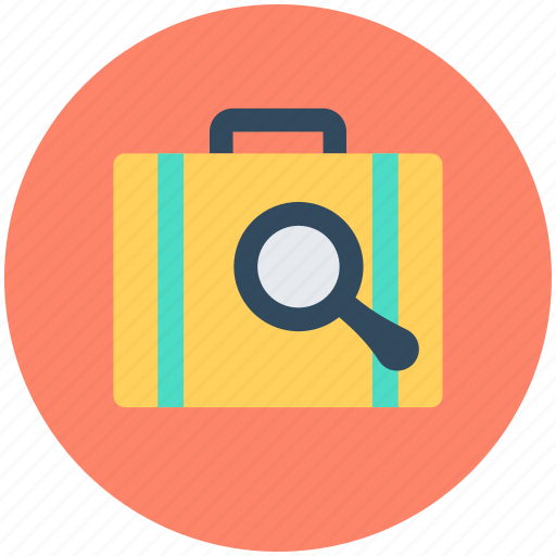 bag, luggage, luggage scanning, magnifier, search briefcase icon