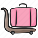 airport trolley, hand cart, luggage cart, luggage trolley, pushcart icon