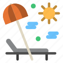 holiday, outdoor, recreation, sunbed icon