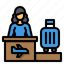 airport, check, desk, in, luggage, travel icon