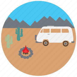 camping, car, fire, mountain, travel, traveling, van icon