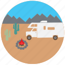 camping, car, fire, mountain, rv, travel, traveling icon