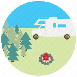 camping, car, fire, nature, rv, travel, traveling icon