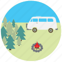 camping, car, fire, nature, travel, traveling, van icon