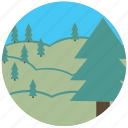 field, nature, travel, traveling, tree icon