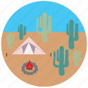 camping, fire, travel, traveling, cactus, desert, tent