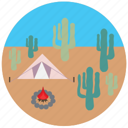 cactus, camping, desert, fire, tent, travel, traveling icon