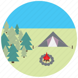 camping, fire, nature, tent, travel, traveling icon