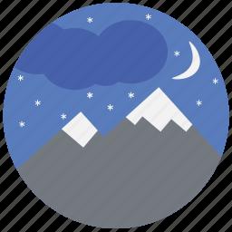 mountain, nature, night, sky, travel, traveling icon
