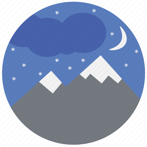 mountain, nature, night, sky, travel, traveling icon
