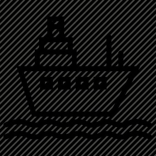 cargo, cruise, sea, ship, transport, travel icon