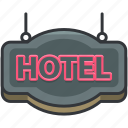 holiday, hotel, sign, travel icon