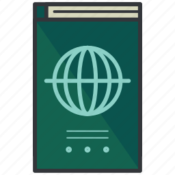 documentation, holiday, page, paper, passport, travel icon