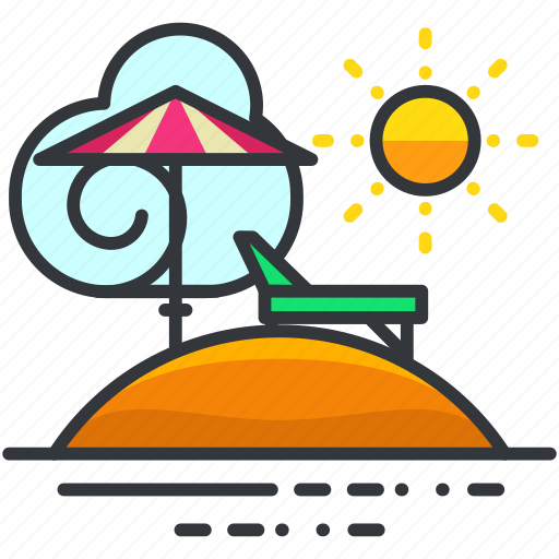 holiday, parasol, relax, relaxation, travel icon