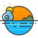 holiday, mountsin, ocean, scenery, sea, travel icon