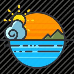 holiday, mountsin, ocean, scenery, sea, travel icon