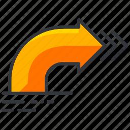 arrow, holiday, right, travel, turn icon