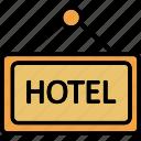 hanging board, hotel board, hotel sign board, info board icon