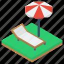 beach bed, beach umbrella, outdoor furniture, sun tanning, sunbath, sunbed icon