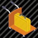 baggage cart, baggage trolley, luggage cart, luggage trolley, luggage wheelbarrow icon