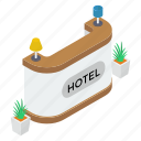 front desk, hotel reception, hotel service, reception, reception desk, restaurant reception icon