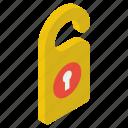 door hanger, door knob, door lock, door sign, door tag icon