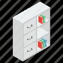 book almirah, book cabinet, book rack, bookcase, bookshelf icon