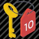 access, hotel key, key, keyring, master key, password, room key icon