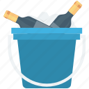 alcohol, champagne bucket, wine bottle, wine bucket, wine case icon