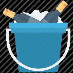 alcohol, champagne bucket, wine bottle, wine bucket, wine case icon