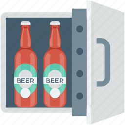 barware, beer bottle, beer cooler, beer fridge, wine cooler icon