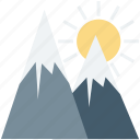 hill, hill station, landscape, mountains, rocks, sun icon