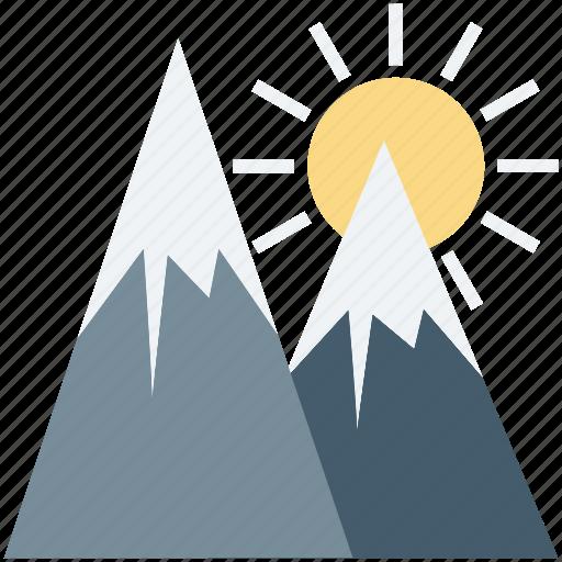 hill, hill station, landscape, mountains, rocks, sun icon