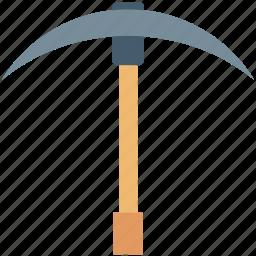 digger, farming scythe, grim tool, pickaxe, scythe tool icon