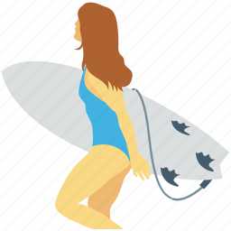 female, surfing, wakeboarding, water skiing, water sports icon