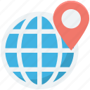 globe, location pin, map locator, map pin, world map icon