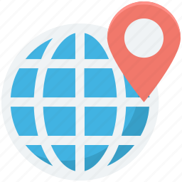 globe, location pin, map locator, map pin, world map icon