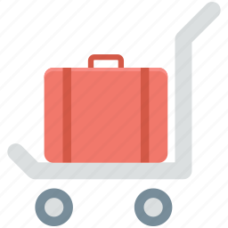 hotel trolley, luggage, luggage trolley, platform truck, trolley icon