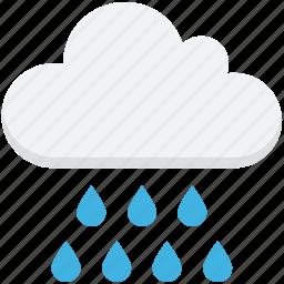 cloud, rain drops, raining, rainy weather, weather icon