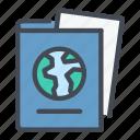 document, globe, id, international, passport icon