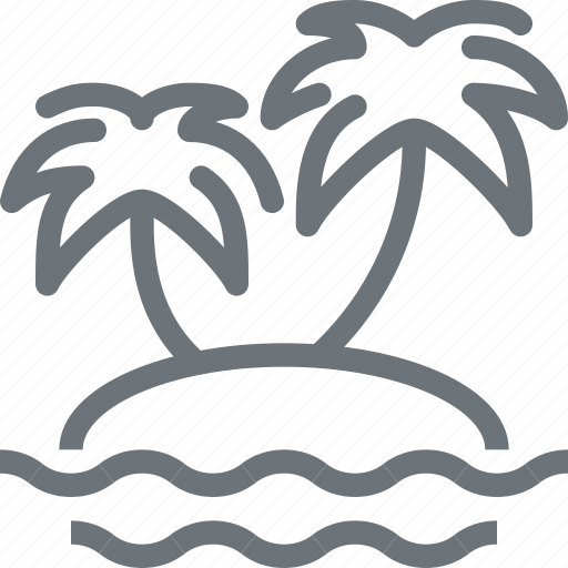 island, leisure, palm, paradise, tourism, travel, vacation, vector icon