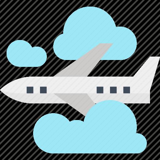 air, airplane, cloud, flight, plane, sky, travel icon