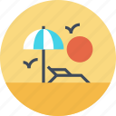 beach, leisure, relax, sea, sun, travel, vacation icon