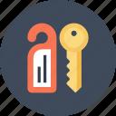 access, door, hanger, hotel, key, room, tag